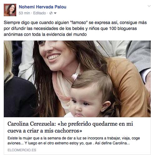 Comentario sobre la entrevista a Carolina Cerezuela
